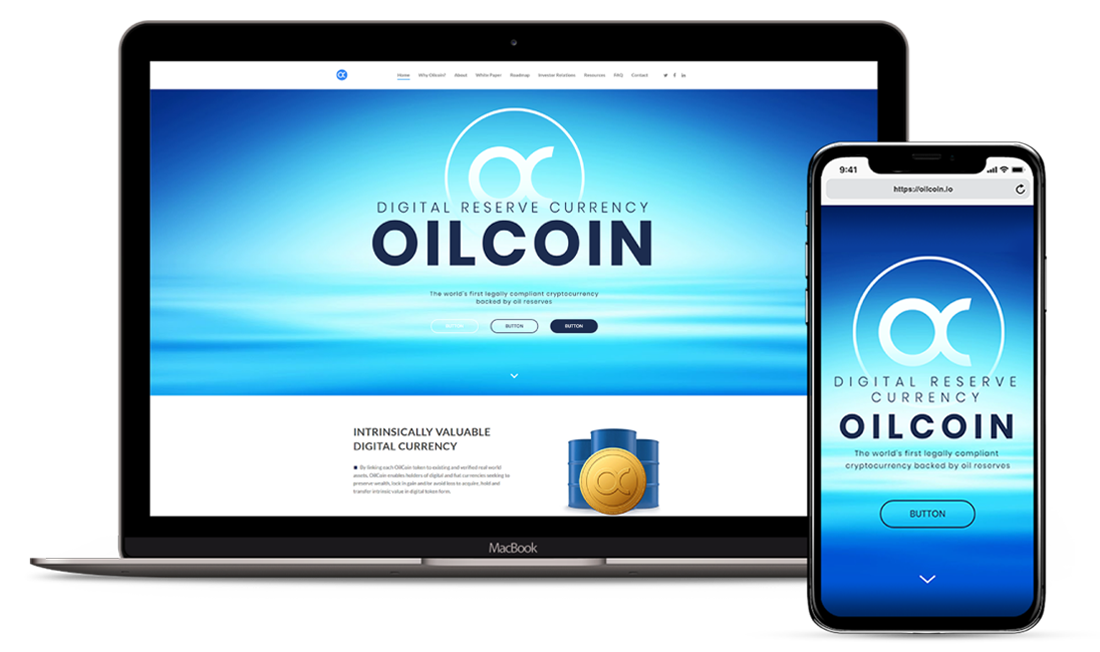 Responsive Web and Brand Identity Design Preview for Oilcoin